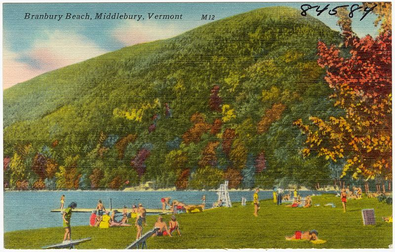 Old Postcard of Branbury Beach, Vermont