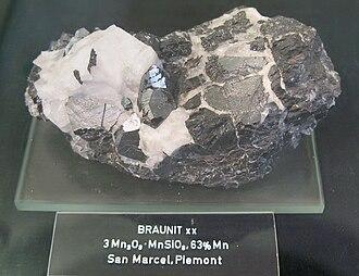 Braunite - Braunite, from San Marcel, Piemonte , Italy