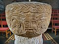 Brecon Cathedral Font with bird, Green Man and scorpion.jpg