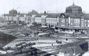Tokyo Station - Original brick Tokyo Station (Marunouchi Building) in 1914