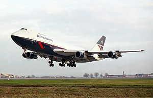 Leeds Bradford Airport - A British Airways Boeing 747-200 lands at the airport in 1984.