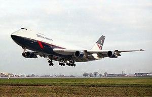 Leeds Bradford Airport - A British Airways Boeing 747-200 lands at the airport in 1984.