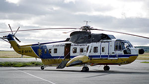 British Caledonian in the 1970s - A British Caledonian Helicopters Sikorsky S-61N at Aberdeen Airport in May 1986.