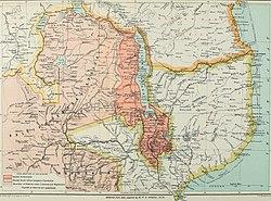Karte des südlichen Afrikas, 1897. Das Protektorat von Britisch-Zentralafrika ist dunkelrosa schattiert.