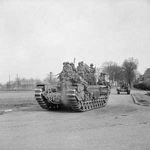 513th Parachute Infantry Regiment (United States) - British Churchill tanks of the 6th Guards Tank Brigade carrying American paratroopers of the 513rd Parachute Infantry Regiment through Dorsten, Germany, 29 March 1945.