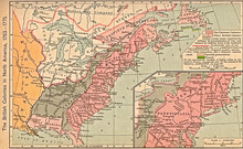 This map shows the British Province of Quebec in the north around the Great Lakes.  To the west, across the Mississippi River is Spanish Louisiana.  The former French Illinois Country spans the Mississippi in the center-west.  The thirteen American colonies are to the east.