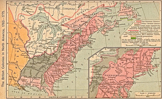 Quebec Act - Map of British America showing original boundaries of the Province of Quebec and its Quebec Act of 1774 post-annexation boundaries. From Historical Atlas by William R. Shepherd, New York, Henry Holt and Company, 1923; the map is unchanged from the 1911 original version.