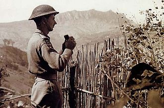 Battle of San Marino - British soldier observing German positions near San Marino