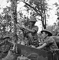 British troops fire a 3-inch mortar from a Bren gun carrier near Pyingyaing, between Kalewa and Shwebo, Burma, January 1945. SE2388.jpg
