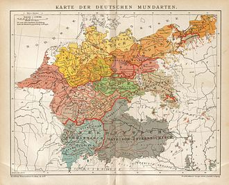 "Ostsiedlung - ""German"" dialects in central Europe, 1894 (here including other West Germanic languages: Low German and Dutch, but excluding Frisian)"