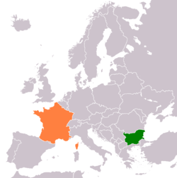 Map indicating locations of Bulgaria and France