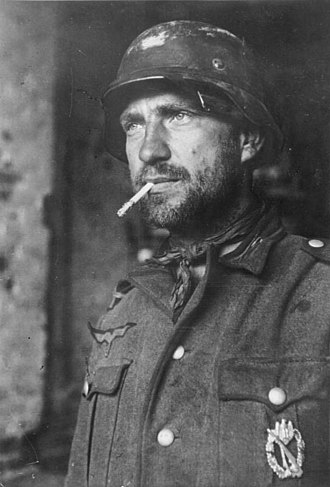 Thousand-yard stare - German soldier at Stalingrad displaying the thousand-yard stare, January 1943.