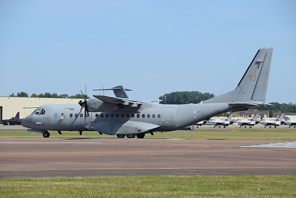 CASA C-295 (code CC-3) of the Finnish Air Force departs RIAT Fairford 17July2017 arp