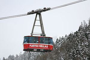 Aerial tramway - Aerial tramway in Engadin, Switzerland, suspended on two track cables with an additional haulage rope.