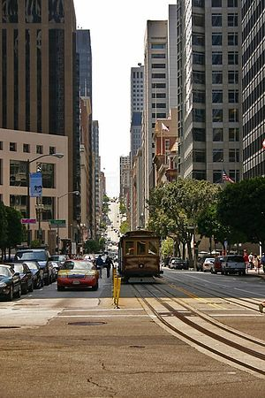 Cable car (railway) - A San Francisco cable car travels along California Street in the city's Financial District.