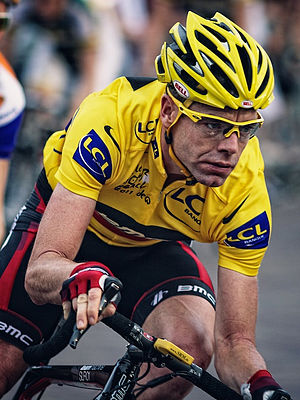 Australian cyclists at the Tour de France - Evans wearing the yellow jersey during a Criterium in Surhuisterveen after the 2011 Tour de France