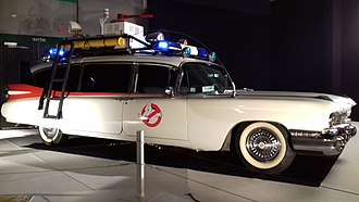 Ghostbusters (franchise) - The Ectomobile or Ecto-1 is a modified 1959 Cadillac Miller-Meteor ambulance.