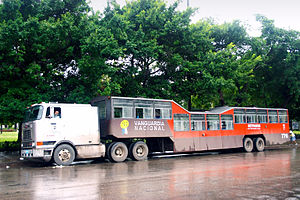 Trailer bus - Camel bus in Havana