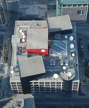 Canadian Broadcasting Centre - The roof of the Broadcasting Centre, as seen from the CN Tower.  Studio 40 is centre, flanked by studios 41 and 42.