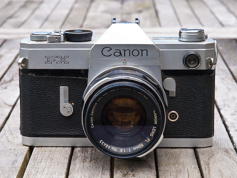Canon FX on a garden table at Manche, Basse-Normandie, France.