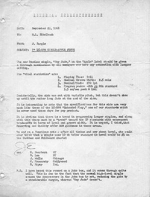 "George Marino - Capitol Studios letter regarding the mastering of 7"" 45 RPM single of ""Hey Jude"""