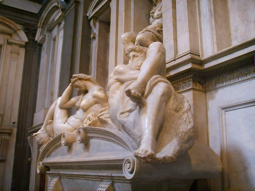 Cappelle Medicee, sagrestia nuova tomba di lorenzo 3 l'alba e il crepuscolo (Michelangelo)