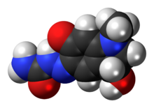 Space-filling model of the carbazochrome molecule