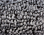 Monochrome painting consisting of large number of Japanese faces