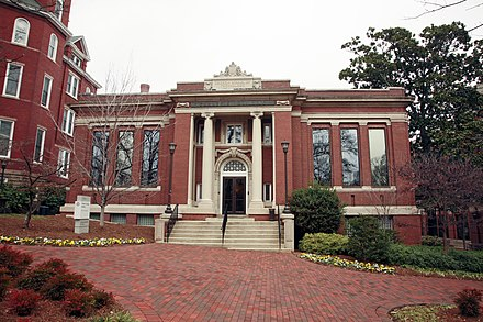 The Carnegie Building, constructed in 1907, is located in the Historic District of Central Campus. It was originally the campus library, and it now houses the President's office. Carnegie Building 6272.jpg