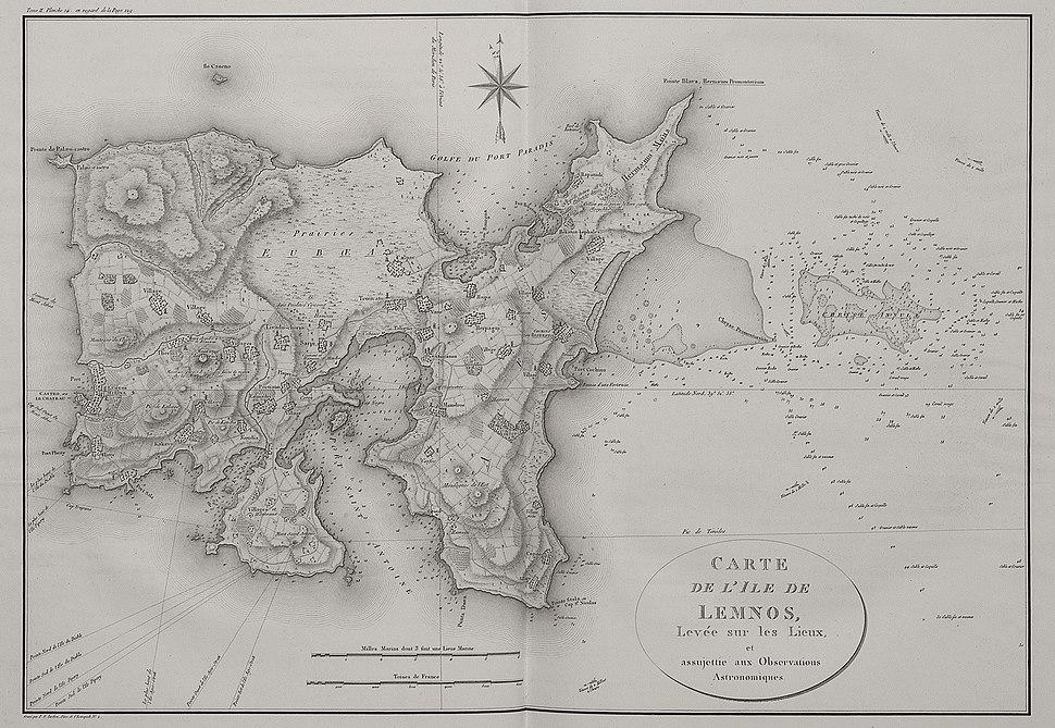 Carte de l'ile de Lemnos - Choiseul-gouffier Gabriel Florent Auguste De - 1809