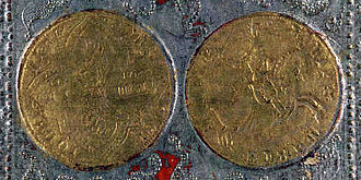Visconti-Sforza tarot deck - Image: Cary Yale deck four of coins detail