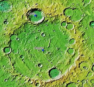 Cassini (Martian crater) - Location of Cassini Crater