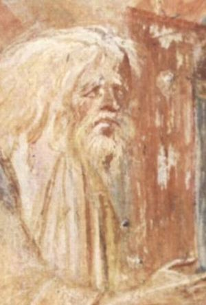 Castelseprio (archaeological park) - Fresco of St Simeon from Santa Maria foris portas in Castelseprio.