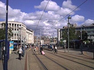 Castle Square, Sheffield - Supertram tracks, Castle Square.