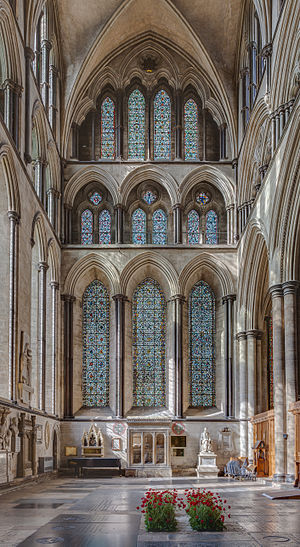 John Blyth - North transept of the Salisbury Cathedral with the tomb of John Blyth in the middle.