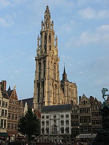 The Gothic Spire Of Antwerp Cathedral