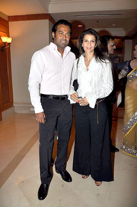 Rhea with Leander Paes, 2012 Celebrities at Manish Malhotra - Lilavati Save & Empower Girl Child show (25).jpg