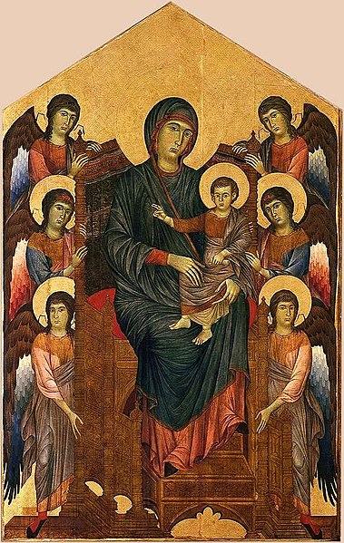 Archivo:Cenni di Pepo, dit Cimabue - La Vierge et l'Enfant en majesté entourés de six anges, 1270.jpg