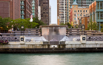 Centennial Fountain - The fountain waterfall as seen from across the Chicago River.
