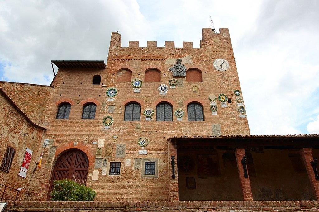 Certaldo Alto, Palazzo Pretorio, Wapenschilden op de façade