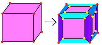 Chamfer (geometry) - Image: Chamfered cube example
