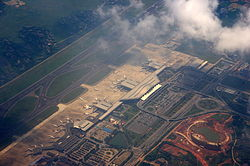 Changsha Huanghua International Airport aerial view of terminal buildings.JPG