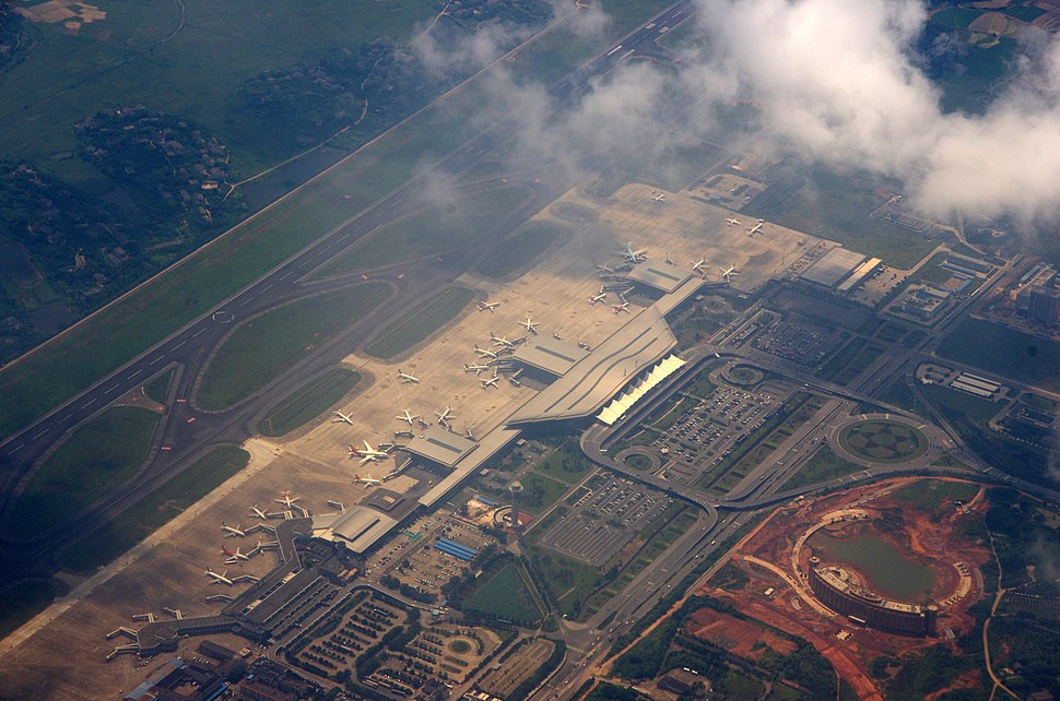 Changsha Huanghua International Airport aerial view of terminal buildings
