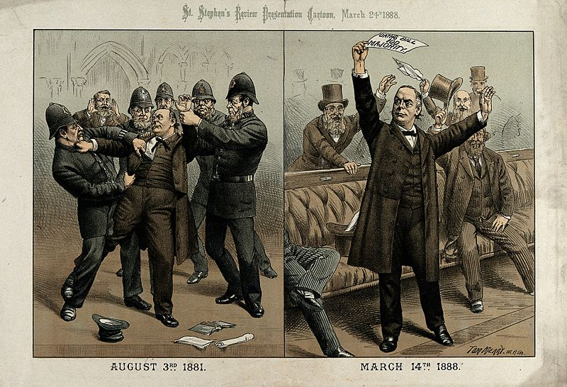 File:Charles Bradlaugh being arrested and then in parliament Wellcome V0050355.jpg