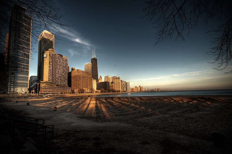 Chicago across from Lake Michigan