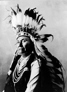 Profile of the head and torso of a dignified man of about 60. He wears a headpiece featuring many long white feathers with black tips. His shirt or upper garment is dark, and its sleeves are white. Decorative parallel ovals of white material extend down the front of this garment from neck to midriff.