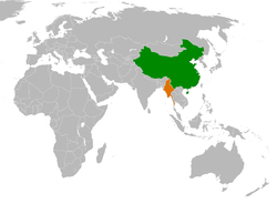 Map indicating locations of People's Republic of China and Burma