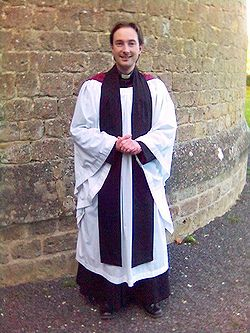 Anglican priest in choir dress