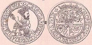 Christian III of Denmark - Danish rigsdaler minted under Christian III in 1537. His coat of arms on the reverse.