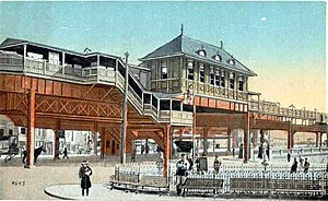 Community College (MBTA station) - City Square station on a 1920 postcard